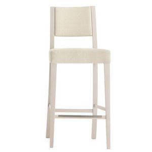 Sintesi 01584, Taburete de madera maciza, asiento y respaldo tapizados, revestimiento de tela, con zócalo de acero inoxidable, para entornos de contrato y domésticos