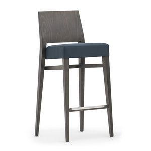 Timberly 01781, Taburete apilable con estructura de madera maciza, asiento tapizado, cubierta de tela, el reposapiés de acero, para el uso del contrato