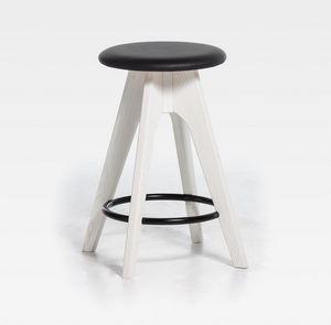 Tommy H61 H76, Taburete de madera con asiento tapizado