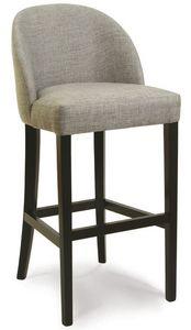 Verona SG, Taburete de madera con asiento y respaldo tapizados, para bares