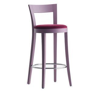 Vienna 01381 - 01391, Taburete de madera maciza, asiento y respaldo tapizados, revestimiento de tela, reposapiés cromado, para el uso del contrato