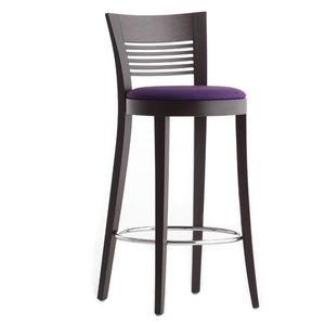 Vienna 01382 - 01392, Taburete de madera maciza, asiento tapizado, cubierta de tela, reposapiés cromado, para el uso del contrato