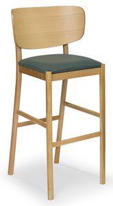 Viky stool, Taburete de madera con respaldo curvo