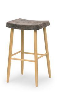 Web stool high, Bartool de madera sin respaldo