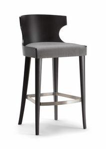 XIE BAR STOOL 052 SG, Taburete de madera con asiento tapizado