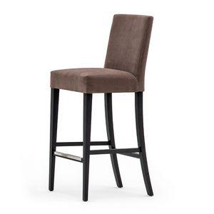 Zenith 01681, Taburete de madera maciza, asiento y respaldo tapizados, revestimiento de tela, el reposapiés de acero, para el uso del contrato