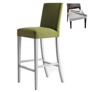 Zenith 01686 - 01696, Taburete de madera maciza, asiento y respaldo tapizados, cubierta de tela desmontable, reposapiés en acero, para el uso del contrato