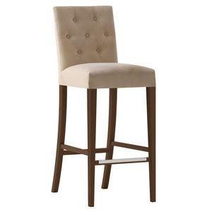 Zenith 01688 - 01698, Taburete de madera maciza, asiento y respaldo tapizados, revestimiento de tela, capitonné espalda, reposapiés en acero, para el uso del contrato