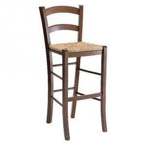 207 SG, Taburete rústico con asiento de paja, para bar de vinos
