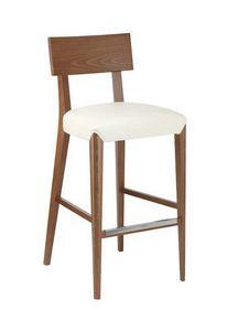 C40SG, Taburete de madera, asiento acolchado, cubierto de tela, para bares y restaurantes