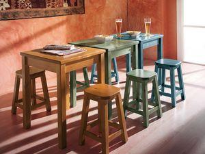 Collection Amb 06, Taburete de madera en estilo rústico, de bares y cantinas