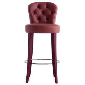 Euforia 00181K, Taburete de madera maciza, asiento y respaldo tapizados