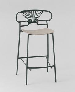 ART. 0049-MET-CROSS STOOL GENOA, Taburete de metal con asiento de madera