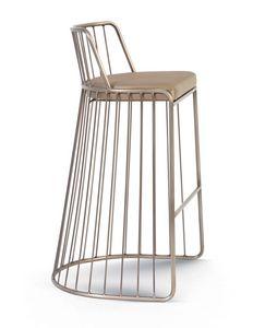 Gabby, Taburete de metal con asiento acolchado