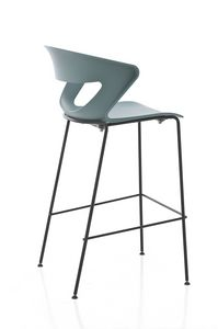 Kicca stool, Taburete en metal y polipropileno, también disponible tapizado