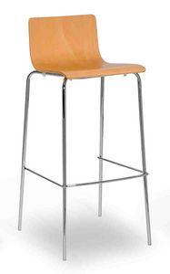 Lilly stool, Taburete de metal con carcasa de madera
