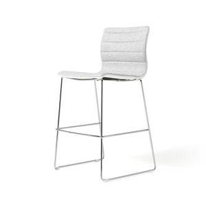 Miss stool, Taburete acolchado con estructura de acero cromado
