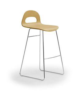 Samba Wood stool sled, Taburete con base de trineo, concha de madera