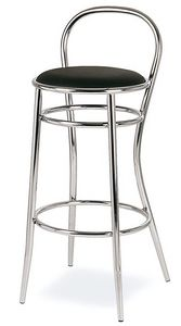 SG 020, Taburete de metal curvado, asiento redondo, hoteles