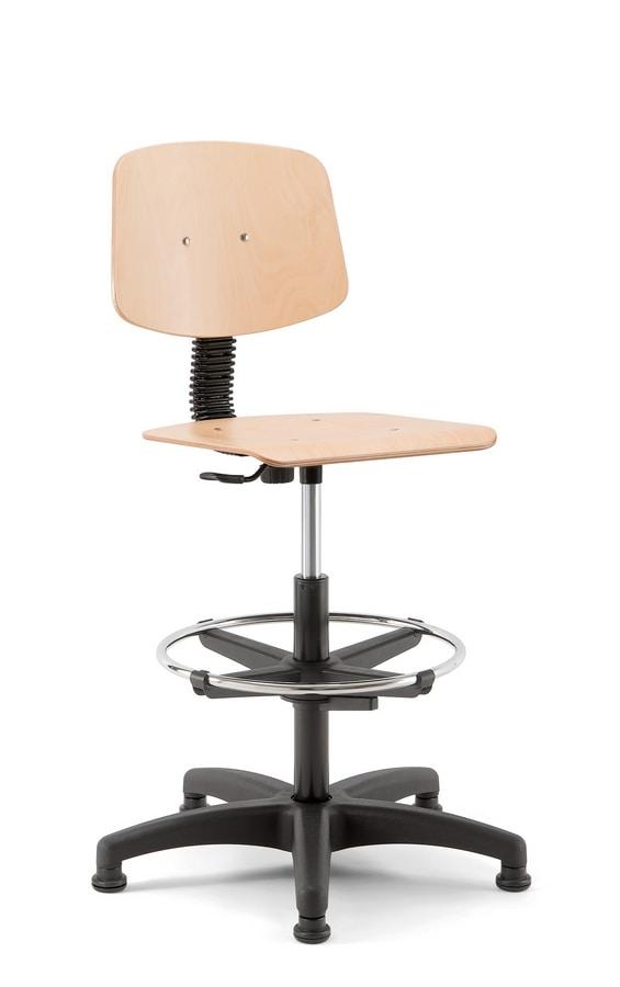 Woody 03, Taburete giratorio con asiento de madera