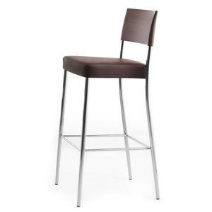 Airon 02081, Taburete con estructura de metal cromado, respaldo en madera maciza, asiento tapizado, para el uso del contrato