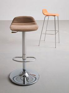 Alhambra Stool UPH 67, Diseño taburete con asiento de polímero recubierto de cuero sintético