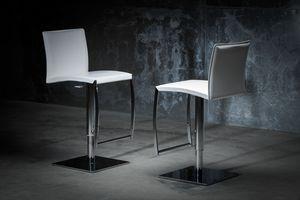 ART. 251/A DIAMOND STOOL, Taburete en metal, asiento y respaldo de cuero