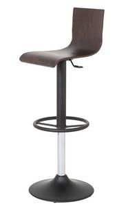 Art.Lory/Reg, Taburete de acero con base redonda, asiento y respaldo de madera, elevación de gas giratoria, para el uso del contrato