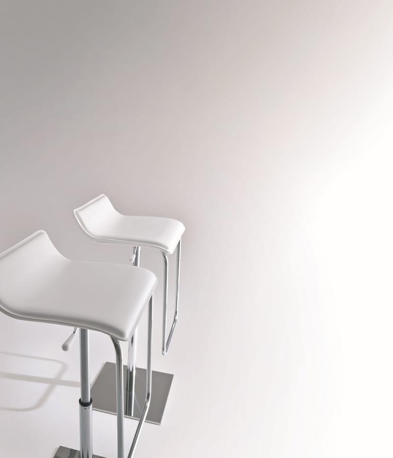 Asolo, Taburete mínimo con base metálica, asiento de cuero