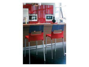 Diva stool h.65 / h.75, Taburete apilable de plástico y aluminio