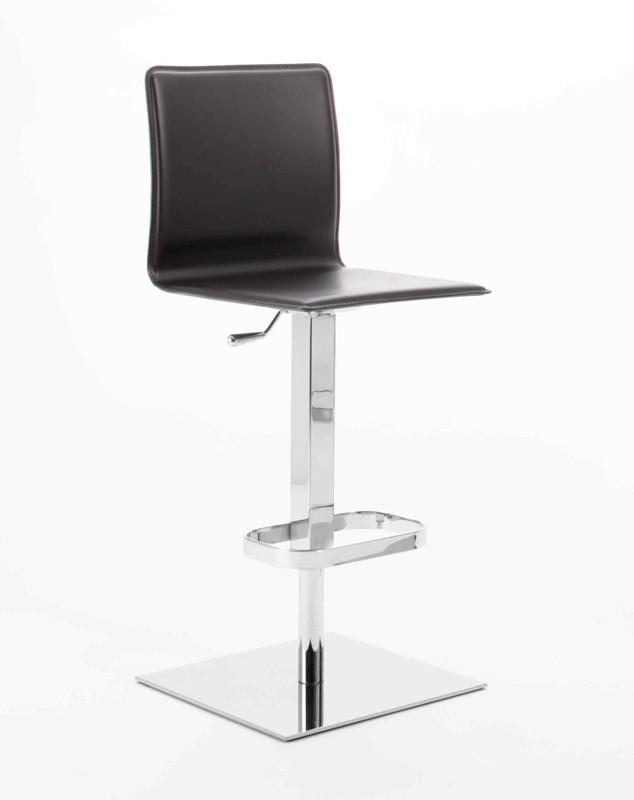 Dodo SG, Taburete moderno, asiento de madera contrachapada, de base cuadrada