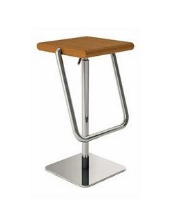 Joe, Taburete giratorio ajustable, asiento de madera maciza