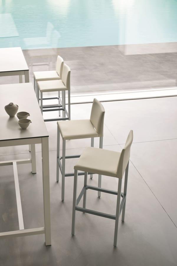 Milano 75, Taburete alto en aluminio, asiento y respaldo tapizados