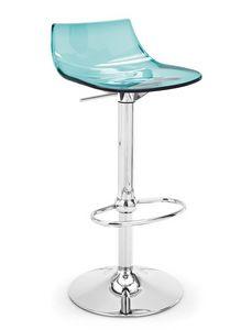 Neon, Taburete contemporáneo, con asiento en plástico transparente