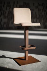 Riese taburete de metal, Taburete con elevación ajustable y base de metal cuadrada