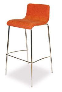 SG 352, Taburete de metal cromado, con asiento acolchado, para bares