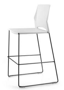 TREK 030 H, Taburete con patín, asiento y respaldo de polímero