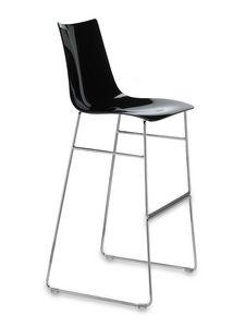 Zebra taburete antishock sled base H80, Heces de metal y policarbonato, fijo asiento