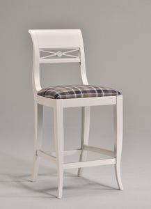 EVA taburete 8016B, Taburete de estilo clásico, en madera de haya, patrón de tejido