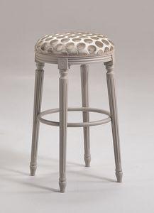 LUIGI XVI stool 8274B, Taburete de estilo Luis XVI, en madera de haya, para mobiliario naval