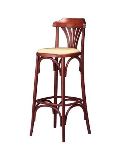 119, Heces retro, de madera curvada, con asiento acolchado