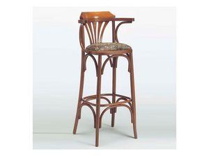 120, Taburete de madera clásico, asiento acolchado, para Bistro