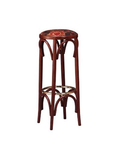 123, Taburete de madera en estilo bistro, asiento redondo
