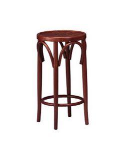125, Taburete con asiento redondo, madera curvada, para restaurante
