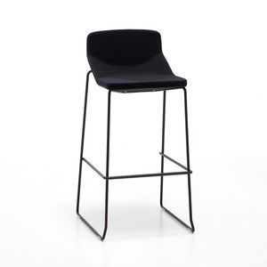 Formula80 stool h75 h65 fabric, Taburete de metal, con un diseño simple, asiento acolchado