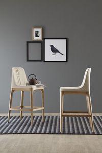 MIVIDA taburete, Taburete con asiento y respaldo tapizados en tela o cuero
