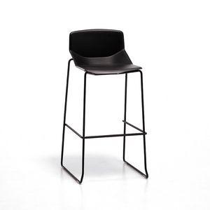 Formula tech ST h75 h65, Taburete de metal, asiento de poliuretano, de moderno bar