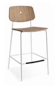 Olivia-SG, Taburete moderno de metal, con asiento de madera