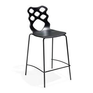 Lace stool h65 h75, Taburete con asiento y respaldo en tecnopolímero, adecuado para modernos bars, cocinas y restaurantes