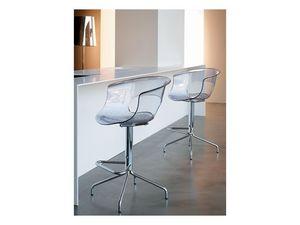 Miss b stool h.65, Taburete con estructura fija, en acero y acrílico